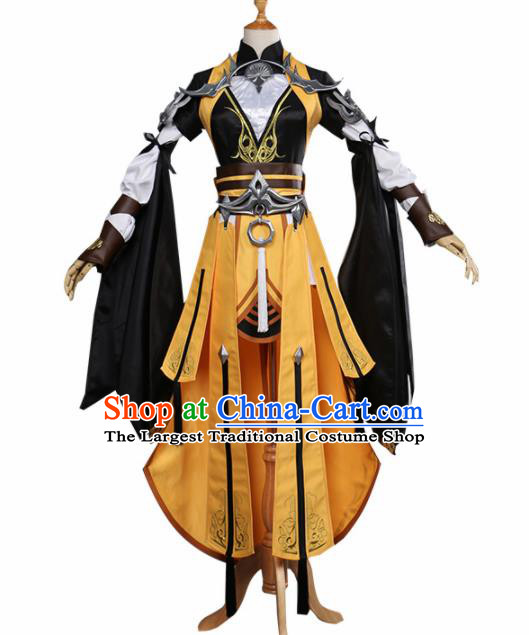 Chinese Traditional Cosplay Female General Costume Ancient Swordswoman Hanfu Dress for Women