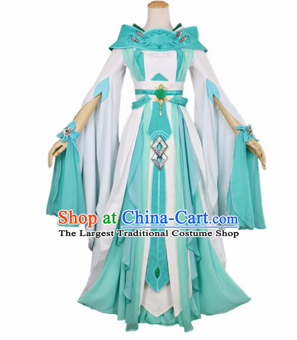 Chinese Traditional Cosplay Peri Princess Costume Ancient Swordswoman Green Hanfu Dress for Women