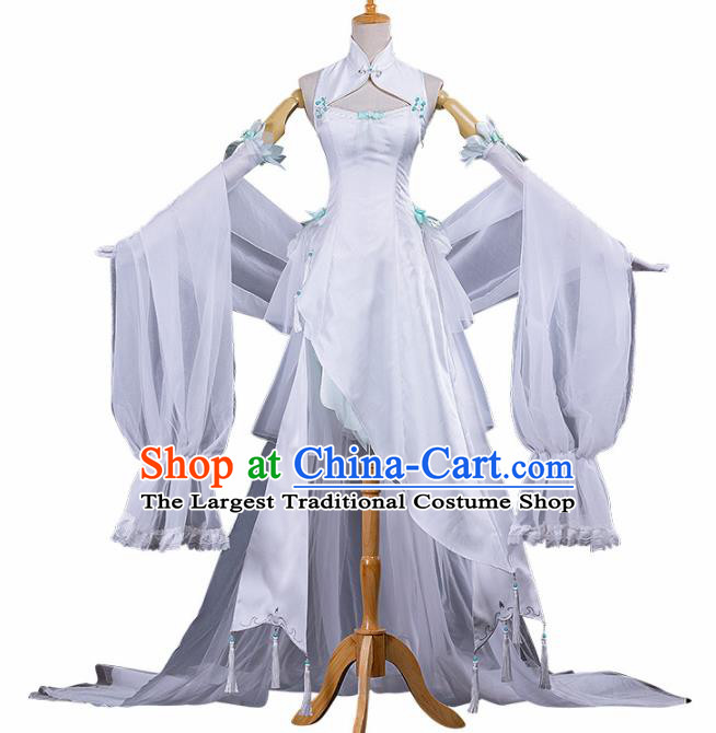 Chinese Traditional Cosplay Peri Princess Costume Ancient Swordswoman White Hanfu Dress for Women