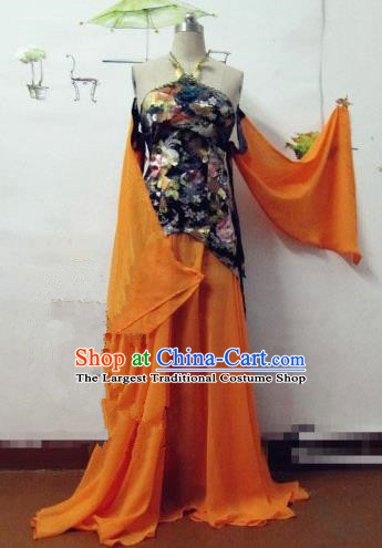 Chinese Traditional Cosplay Costume Ancient Peri Orange Hanfu Dress for Women