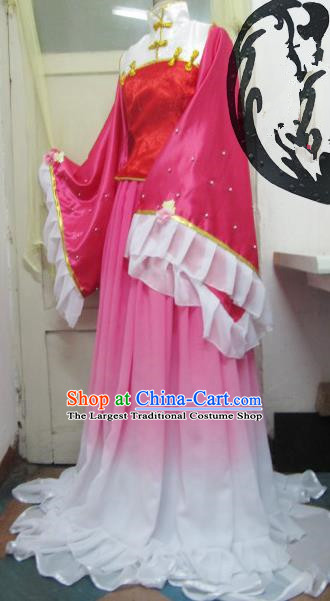 Chinese Traditional Cosplay Costume Ancient Peri Pink Hanfu Dress for Women