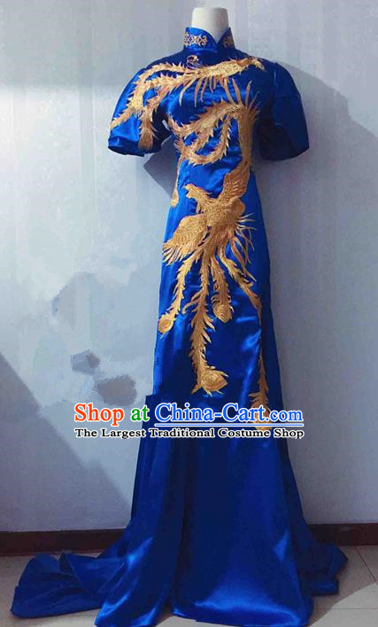 Traditional Chinese Modern Fancywork Costume National Blue Qipao Dress for Women