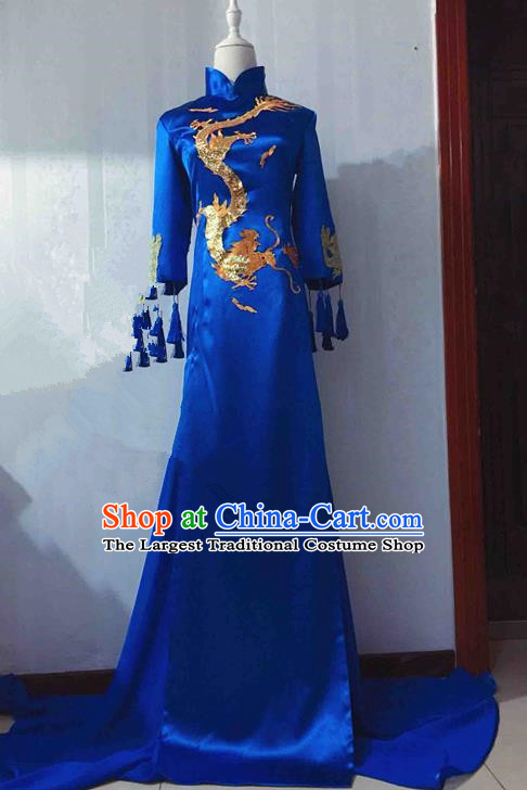 Traditional Chinese Modern Fancywork Costume National Embroidered Dragon Blue Qipao Dress for Women