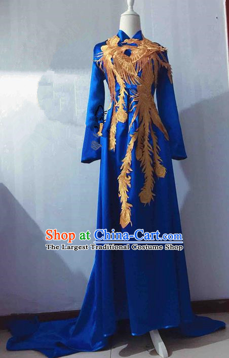Traditional Chinese Modern Fancywork Costume National Embroidered Phoenix Blue Qipao Dress for Women