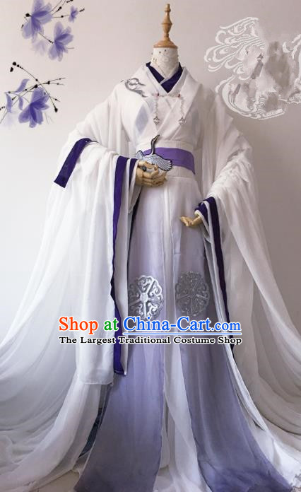 Chinese Traditional Cosplay Emperor White Costume Ancient Swordsman Hanfu Clothing for Men