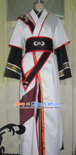 Chinese Traditional Cosplay Young Hero Costume Ancient Swordsman White Hanfu Clothing for Men