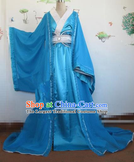 Chinese Traditional Cosplay Royal Highness Costume Ancient Swordsman Blue Hanfu Clothing for Men