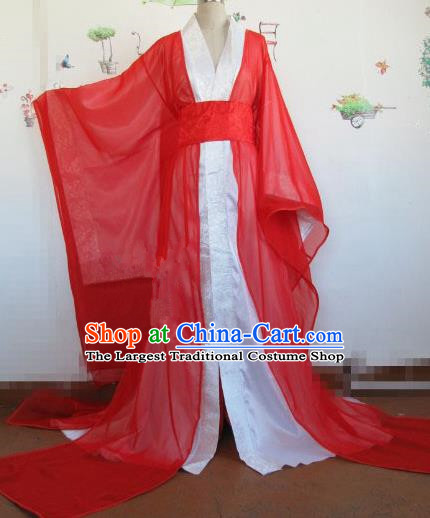 Chinese Traditional Cosplay Royal Highness Wedding Costume Ancient Swordsman Red Hanfu Clothing for Men