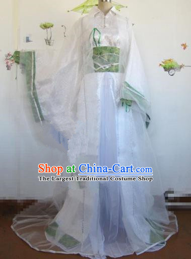 Chinese Traditional Cosplay Royal Highness Costume Ancient Swordsman White Hanfu Clothing for Men