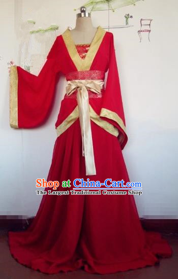 Chinese Traditional Cosplay Apsaras Costume Ancient Tang Dynasty Imperial Consort Red Hanfu Dress for Women