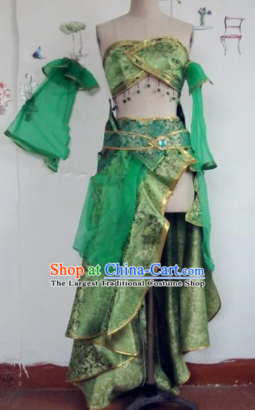 Chinese Traditional Cosplay Apsaras Costume Ancient Tang Dynasty Princess Green Hanfu Dress for Women