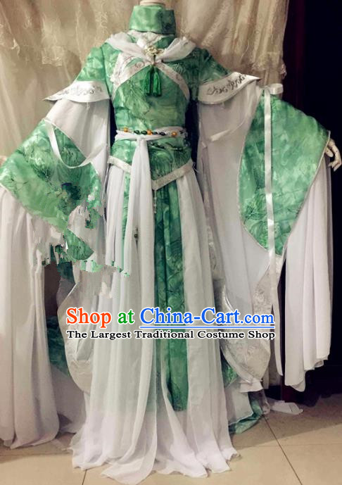 Chinese Traditional Cosplay Swordswoman Costume Ancient Peri Princess Green Hanfu Dress for Women