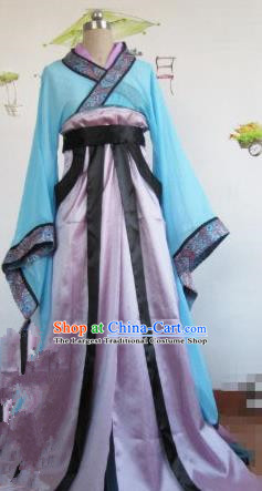 Chinese Traditional Cosplay Swordswoman Costume Ancient Young Lady Purple Hanfu Dress for Women