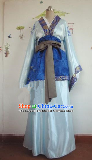 Chinese Traditional Cosplay Nobility Childe Costume Ancient Swordsman Blue Hanfu Clothing for Men