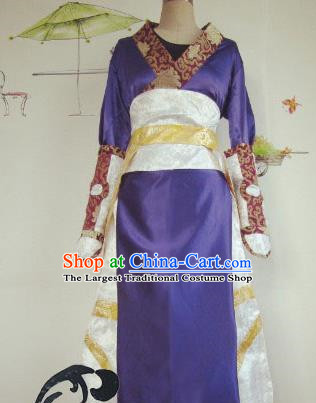 Chinese Traditional Cosplay Swordswoman Costume Ancient Imperial Consort Purple Hanfu Dress for Women