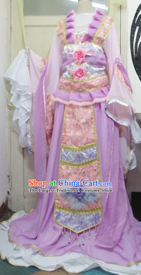 Chinese Traditional Cosplay Princess Wedding Costume Ancient Peri Purple Hanfu Dress for Women