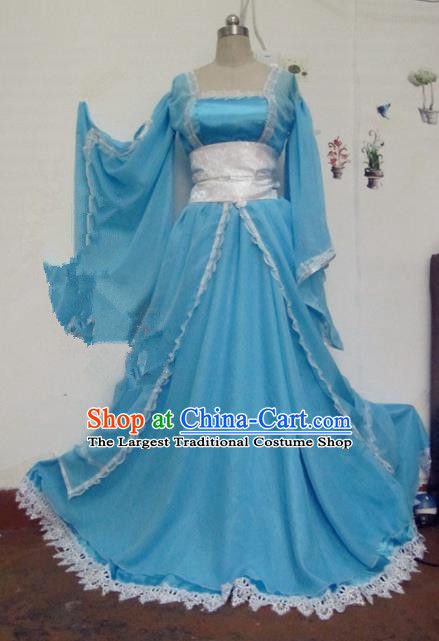 Chinese Traditional Cosplay Tang Dynasty Princess Costume Ancient Peri Blue Hanfu Dress for Women