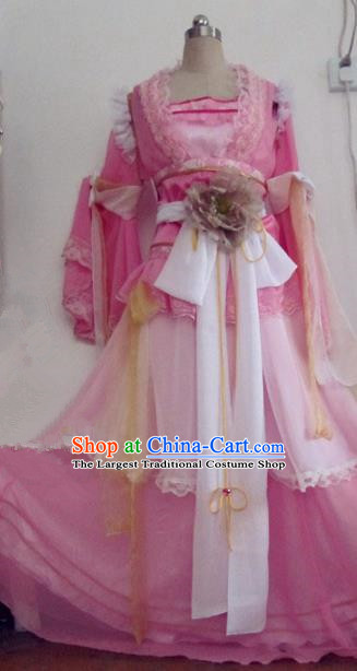 Chinese Traditional Cosplay Swordswoman Costume Ancient Peri Goddess Rosy Hanfu Dress for Women