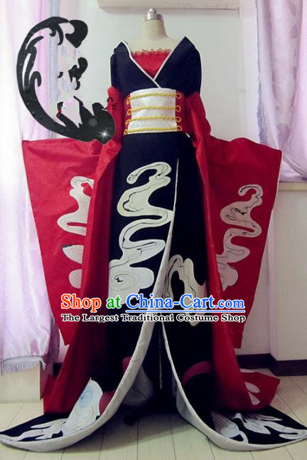 Chinese Traditional Cosplay Queen Costume Ancient Peri Goddess Black Hanfu Dress for Women