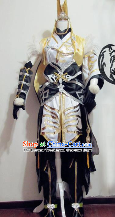 Chinese Traditional Cosplay Knight Armour Costume Ancient Swordsman Hanfu Clothing for Men