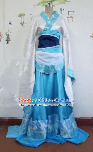 Chinese Traditional Cosplay Imperial Consort Costume Ancient Court Maid Blue Hanfu Dress for Women