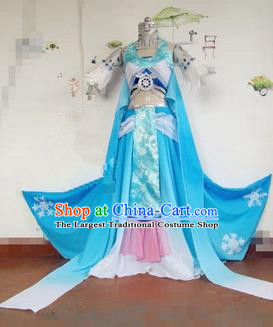Chinese Traditional Cosplay Female Swordsman Costume Ancient Peri Blue Hanfu Dress for Women