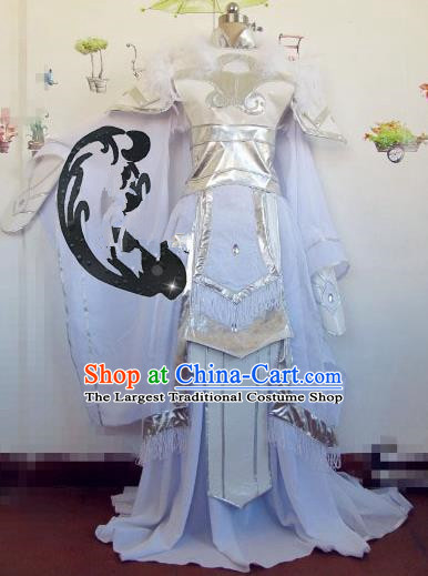 Chinese Traditional Cosplay Princess Wedding Costume Ancient Peri White Hanfu Dress for Women