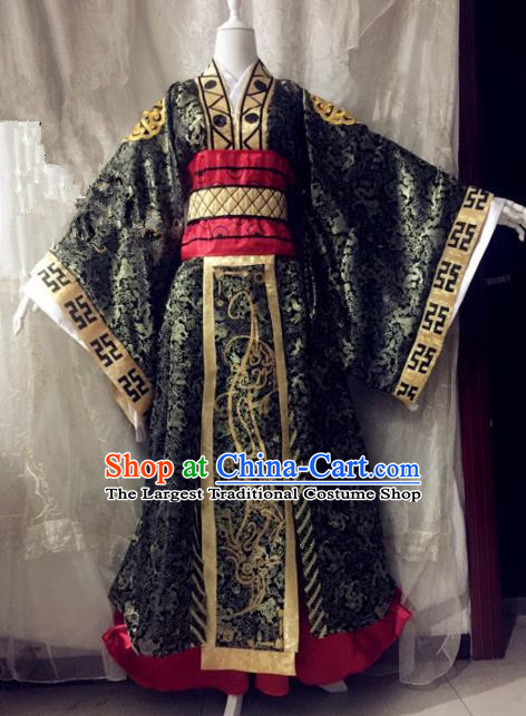 Chinese Traditional Cosplay First Emperor Black Costume Ancient Swordsman Hanfu Clothing for Men