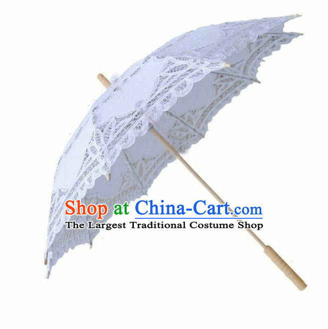 Chinese Traditional Photography Prop White Lace Umbrella Handmade Umbrellas
