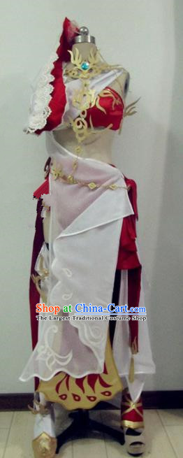 Chinese Traditional Cosplay Swordswoman Costume Ancient Peri Princess Hanfu Dress for Women