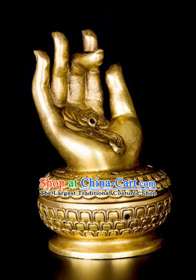 Chinese Traditional Brass Buddha Hand Incense Burner Taoism Bagua Feng Shui Items Censer Decoration