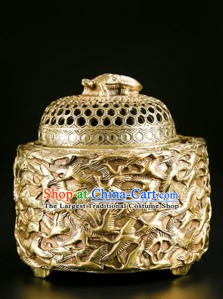 Chinese Traditional Carving Crane Brass Incense Burner Taoism Bagua Feng Shui Items Censer Decoration