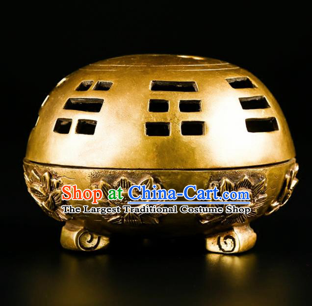 Chinese Traditional Carving Lotus Brass Incense Burner Taoism Bagua Feng Shui Items Censer Decoration