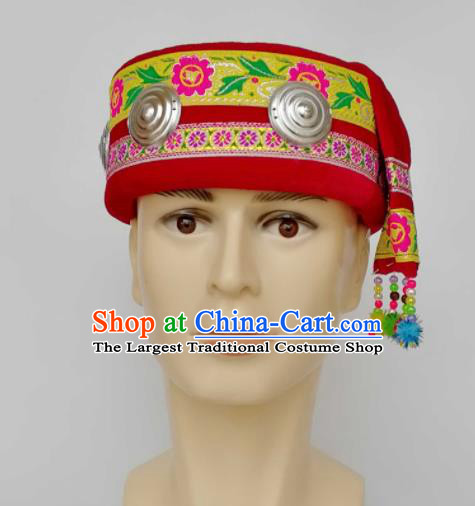 Chinese Traditional Ethnic Headwear Yao Nationality Bridegroom Embroidered Red Hat for Men