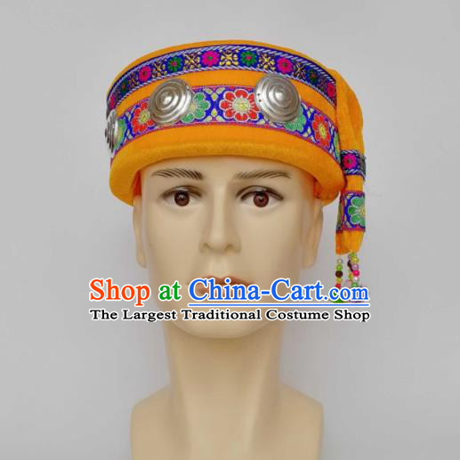 Chinese Traditional Ethnic Headwear Yao Nationality Bridegroom Yellow Hat for Men