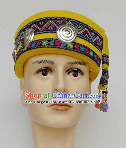 Chinese Traditional Ethnic Headwear Yao Nationality Bridegroom Embroidered Yellow Hat for Men