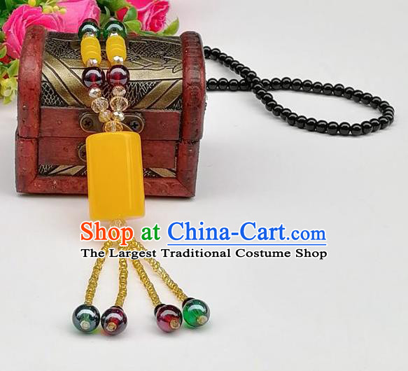 Chinese Traditional Ethnic Jewelry Accessories Beeswax Tassel Necklace for Women