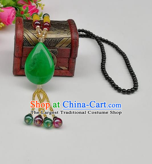 Chinese Traditional Ethnic Jewelry Accessories Green Stone Tassel Necklace for Women