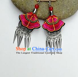 Chinese Traditional Ethnic Jewelry Accessories Miao Nationality Embroidered Rosy Earrings for Women