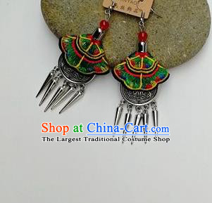 Chinese Traditional Ethnic Jewelry Accessories Miao Nationality Embroidered Green Earrings for Women