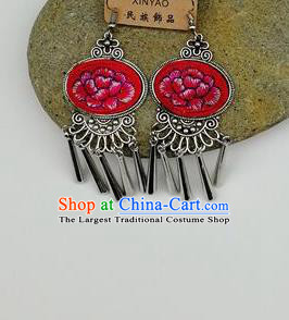 Chinese Traditional Ethnic Jewelry Accessories Miao Nationality Embroidered Peony Red Earrings for Women