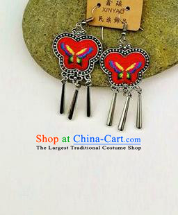 Chinese Traditional Ethnic Jewelry Accessories Miao Nationality Embroidered Butterfly Red Earrings for Women