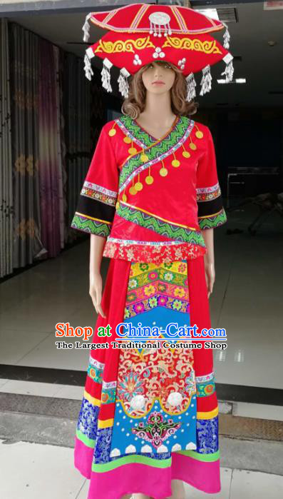 Chinese Traditional Ethnic Wedding Costume Miao Nationality Bride Red Embroidered Dress for Women