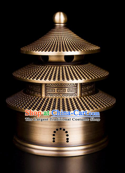 Chinese Traditional Taoism Brass Temple Incense Burner Feng Shui Items Bagua Censer Decoration