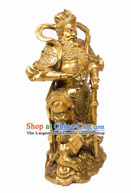 Chinese Traditional Feng Shui Items Bagua Decoration Wealth God Brass Statue