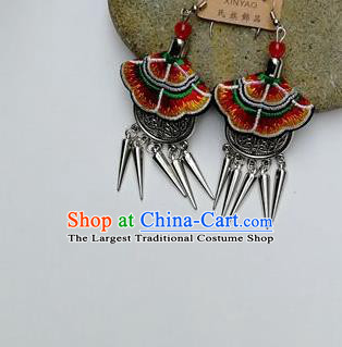 Chinese Traditional Ethnic Jewelry Accessories Miao Nationality Embroidered Red Earrings for Women