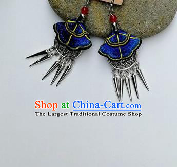 Chinese Traditional Ethnic Jewelry Accessories Miao Nationality Embroidered Blue Earrings for Women