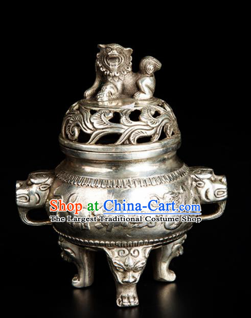Chinese Traditional Taoism Bagua Cupronickel Incense Burner Feng Shui Items Censer Decoration