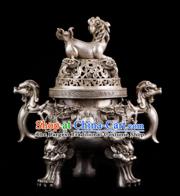 Chinese Traditional Taoism Bagua Cupronickel Lion Incense Burner Feng Shui Items Censer Decoration