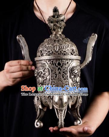 Chinese Traditional Taoism Bagua Carving Cupronickel Incense Burner Feng Shui Items Censer Decoration